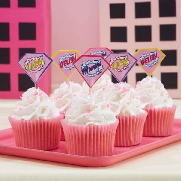 Pop Art Pink Superhero Cupcake Sticks / Food Flags - pack of 20